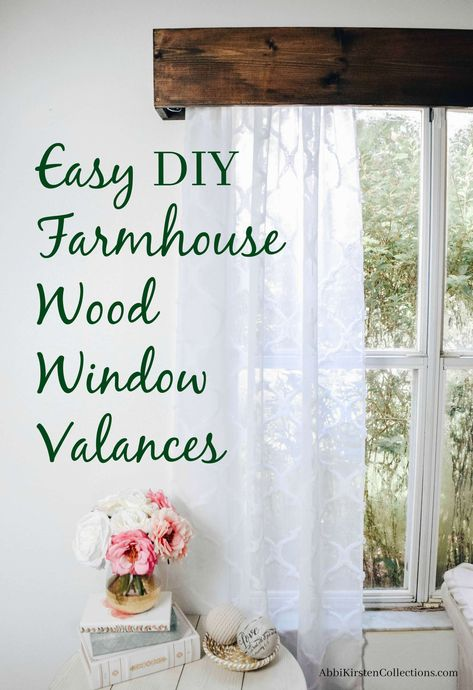 How to Make Your Own Wood Window Valence with Curtains - Vorhang Ideen Wood Valence, Wood Valances For Windows, Kitchen Window Valances, Wood Curtain, Wood Windows, Window Valences, Wooden Window Valance, Pelmets, Bathroom Valance Ideas