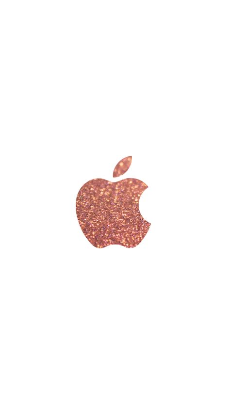 rose gold glitter apple logo iPhone 6 wallpaper   click for more free cute iPhone backgrounds