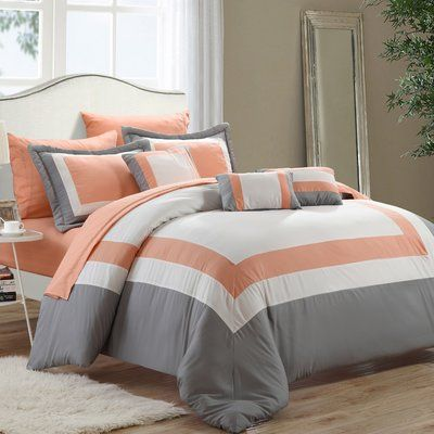 Charlton Home Chenard 10 Piece Bed In A Bag Comforter Set Size Queen Color Peach In 2020 Luxury Bedding Bed Comforters Comforter Sets