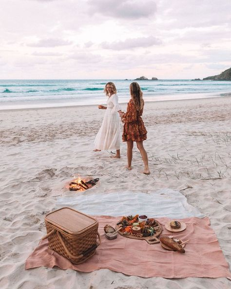 "S P E L L on Instagram: ""Our idea of the perf way to end a Friday 🌸🌙🐚 beauties @_lucyinthesky + @caitiefine beachside in our Tuula Senorita Gown + Aurora Long…"""