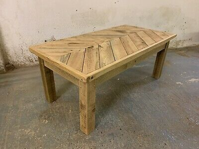 Handmade Rustic Reclaimed Solid Wood Solid Pine Chevron Coffee Table Ebay In 2020 Coffee Table Solid Wood Coffee Table