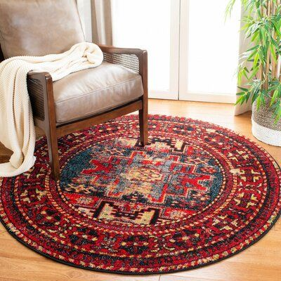 Three Posts Spark Southwestern Red Multi Area Rug Rug Size Round