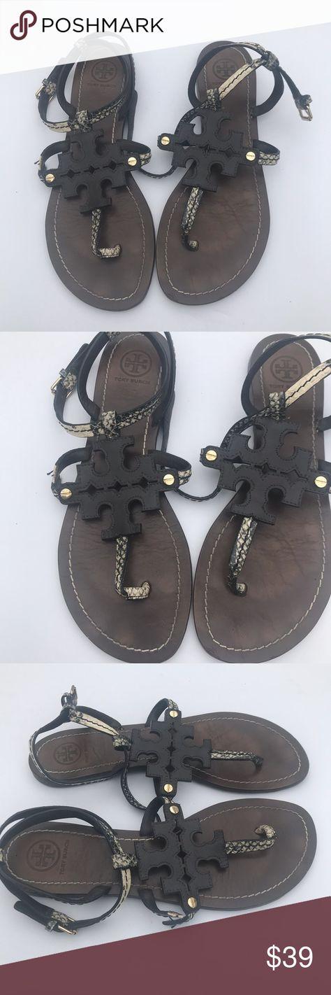 f132b14d9458 Tory Burch snake embossed chandler thong sandals   damage Tory Burch snake  embossed chandler flat