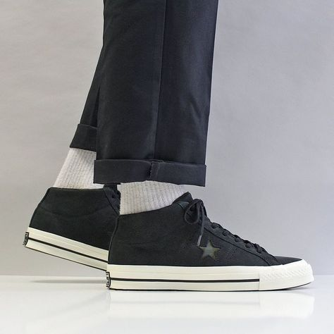 Converse One Star Mid Shoes BlackEgret Off WhiteHerbal