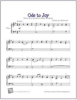 Ode To Joy Printable Sheet Music For Intermediate Piano Http