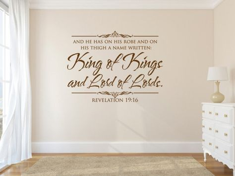 Vinyl Bible Verse. King of Kings and Lord of Scripture Vinyl Wall Art – Bible Wall Quotes – Christian Quotes – Christian Wall Art – Religious Quotes – Christian Wall Quotes – Religious Wall Quotes – Religious Decals - Vinyl Wall Quotes – Decal Quotes – Quote Wall Decal – Decal Wall Decor – Vinyl Wall Art Quotes – Vinyl Lettering Quotes – Vinyl Decals – Bedroom Wall Decals by WeAreVinylDesigns, $22.00