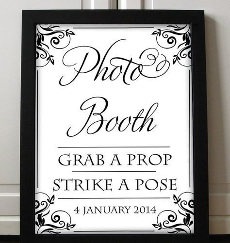 """Items similar to Photobooth Sign Wedding Printable - Photobooth Poster Printable - Grab a Prop Strike a Pose Sign - Photo Booth """"Charlan"""" Printable Wedding on Etsy"""