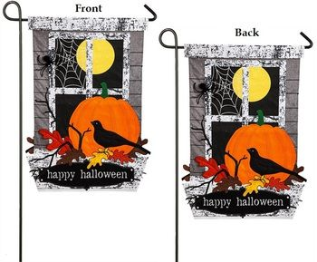 Burlap Happy Halloween 2 sided Garden Flag