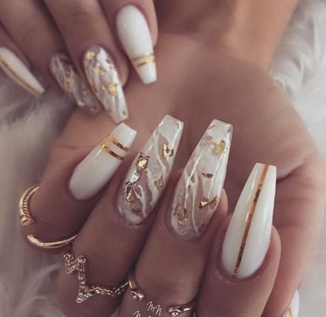 Important Things You Should Know About Acrylic Nails – NaiLovely White Acrylic Nails, Summer Acrylic Nails, Best Acrylic Nails, White Nail, White Acrylics, Aycrlic Nails, Glam Nails, Beauty Nails, Gold Stiletto Nails