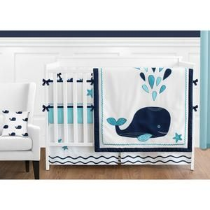 Navy Blue and White Whale Nautical Ocean Baby Boys or Girls 9 Piece Crib Bedding Set With Bumper Turquoise
