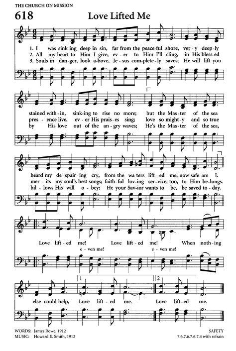 Lovely hymn of God's love. love lifted me sheet music Gospel Song Lyrics, Christian Song Lyrics, Christian Music, Music Lyrics, Gospel Music, Hymns Of Praise, Praise Songs, Worship Songs, Church Songs