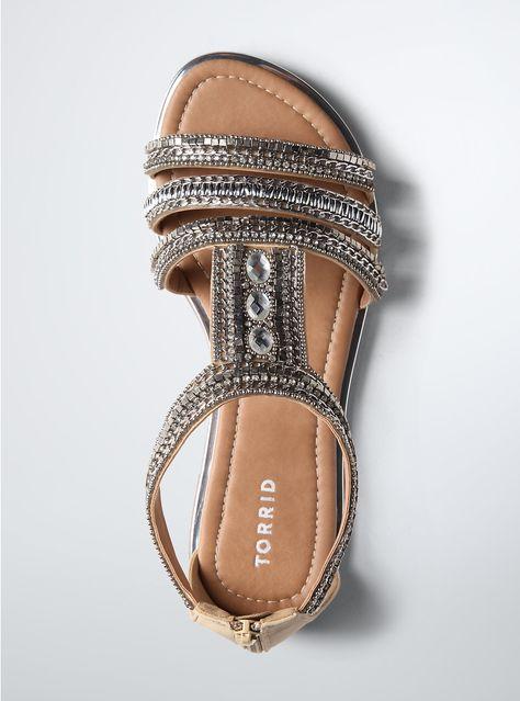 Multi Beaded Gladiator Sandals (Wide