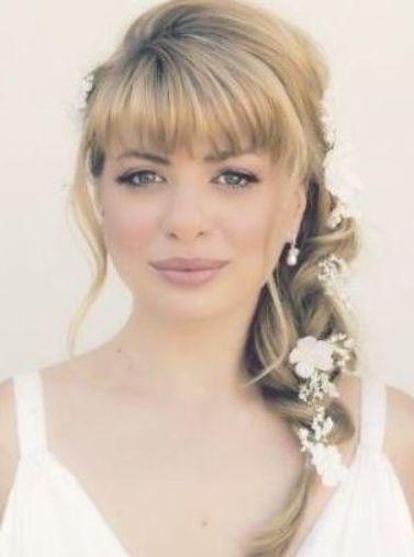 31 Trendy Bridal Hairstyles With Bangs Fringes Wedding Updo Wedding Hairstyles Bridal Thick Hair Styles Braided Bun Hairstyles Haircut For Thick Hair