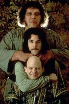From the top, Fezzik (Andre the Giant), Inigo Montoya (Mandy Patinkin) and Vizzini (Wallace Shawn) ♥