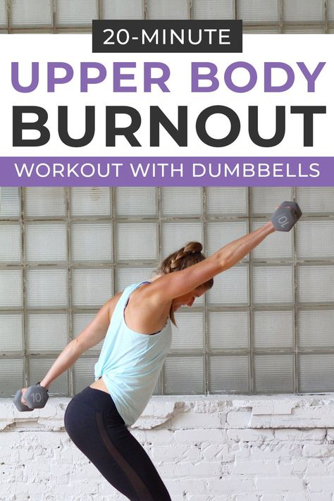 Burn out the upper body with this reps-based ARMS WORKOUT WITH DUMBBELLS! It targets the biceps, triceps and shoulder muscles using big, dynamic movements to get your heart rate up too! body workout at gym Fitness Workouts, Upper Body Hiit Workouts, Body Workout At Home, At Home Workouts, Fitness Tips, Body Exercises, Arm Workouts, Upper Body Weight Workout, Biceps Workout At Home