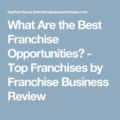Second Career Franchise Opportunities ...