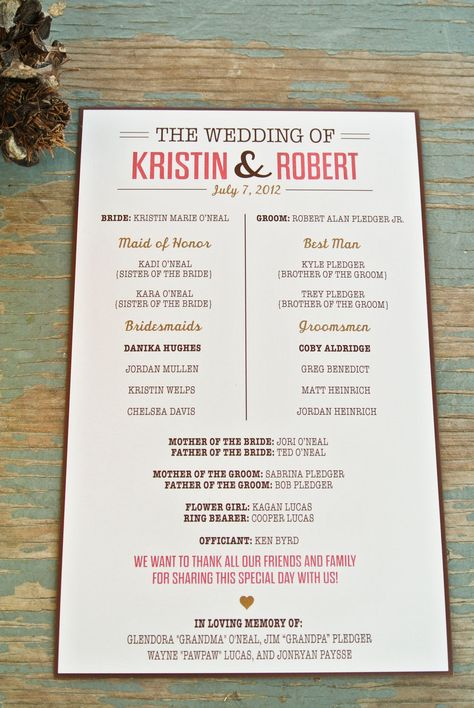 Wedding Program Idea Went To A Not Too Log Ago And The Programs Were Almost Identical This EG