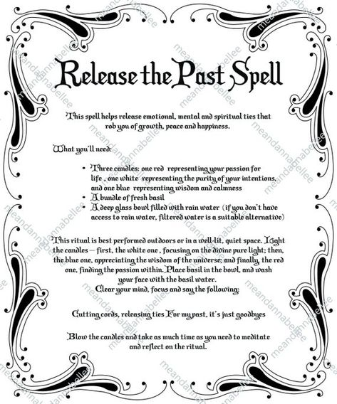 Release the Past Spell Image Witches' Dinner Party Witchcraft Spell Books, Witch Spell Book, Pagan Witchcraft, Witchcraft Spells For Beginners, Healing Spells, Jar Spells, Magick Spells, Candle Spells, Hoodoo Spells