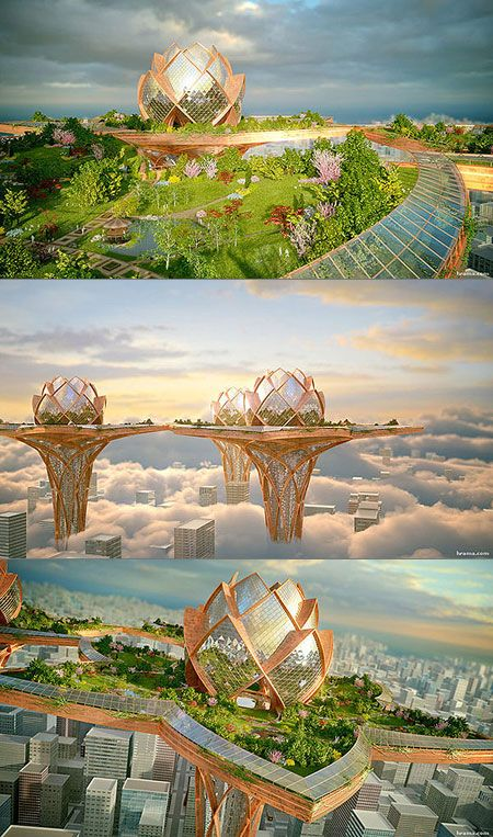 What a Real City in the Sky Would Actually Look Like Futuristic City, Futuristic Design, Unique Architecture, Futuristic Architecture, Sci Fi City, Eco City, City Sky, Fantasy City, Amazing Buildings