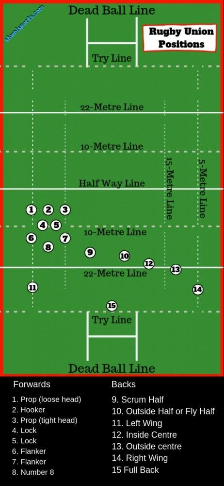 Rugby Union Positions And Numbers Explained On A Diagram Of A Rugby Field Rugby Positions Rugby Rugby Union