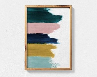 Abstract Painting Featuring Teal, Mustard, Navy Blue and Blush Pink Brush Strokes, Contemporary Printable Wall Art, Teal Decor Abstract Art - Diy Wall Art Guache, Extra Large Wall Art, Contemporary Wall Art, Art Abstrait, Diy Wall Art, Diy Artwork, Unique Wall Art, Wall Art Crafts, 3 Piece Wall Art