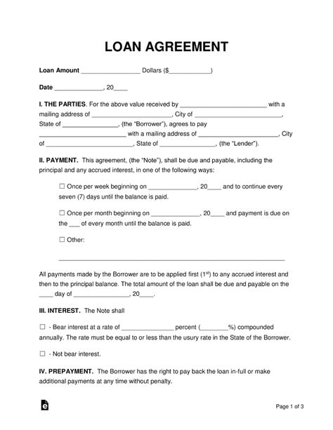Loan Agreement Template Vettron Resume Template Free