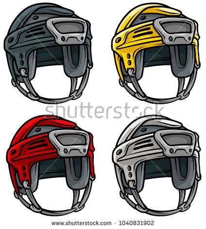 Cartoon Colorful Plastic Protective Ice Hockey Sport Helmet Isolated On White Background Vector Icon Set With Images