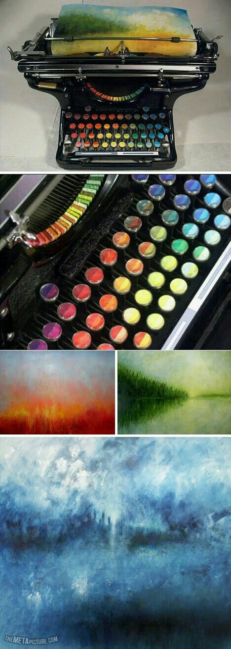 Funny pictures about Type paintings with this chromatic typewriter. Oh, and cool pics about Type paintings with this chromatic typewriter. Also, Type paintings with this chromatic typewriter. Wow Art, Cool Inventions, Oeuvre D'art, Artsy Fartsy, Amazing Art, Art Drawings, Art Projects, Art Photography, Arts And Crafts