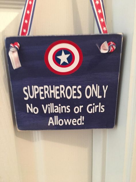 Little Boy's Room Nursery Superheroes Only No Villains or Girls Allowed Captain America Wooden Door Hanger Superhero Door, Superhero Boys Room, Marvel Nursery, Marvel Bedroom, Avengers Boys Rooms, Little Boys Rooms, Wooden Door Hangers, Man Room, Decoration