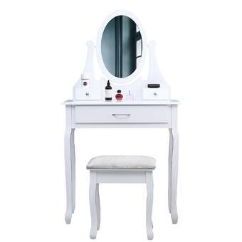 Cormier Corner Makeup Vanity With Mirror Bedroom Makeup Vanity Corner Makeup Vanity Vanity
