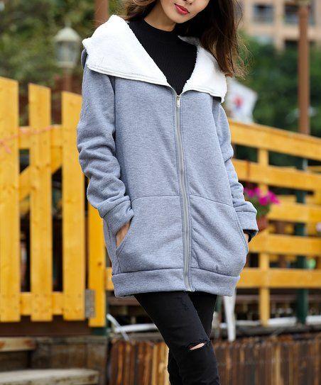 8a10f269a4d $19.99 Z Avenue USA Light Gray Sherpa-Lined Hooded Zip Jacket - Plus ...