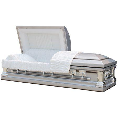 Buy Funeral Casket - Knight Silver W White Interior - 18 Gauge Metal