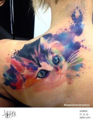 Colorful Cat Tattoo Watercolor Cat Tattoo Cat Tattoo Black Cat Tattoos