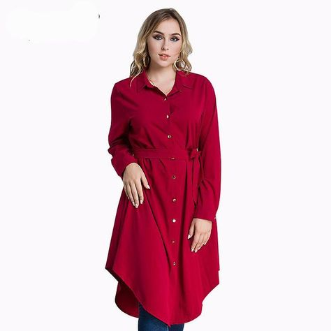3a2a8ef47f2 Casual Elegant Shirt Dress ( Black Red Green Blue )Long Sleeve Loose Tunic  With Sashes