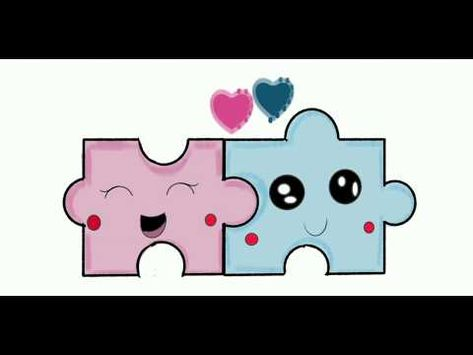 How to draw cute pieces of puzzle-Digital Sketch Book - YouTube
