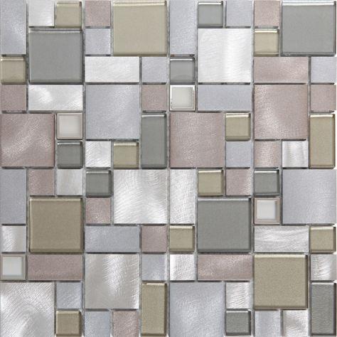 Rovigo Grey Glass Aluminum Mosaic Tile L 304mm W 292mm