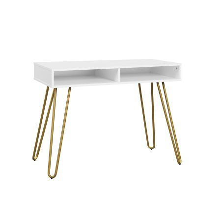 Mainstays Hairpin Writing Desk Multiple Finishes Walmart Com Cubby Storage Open Storage Home Office Furniture