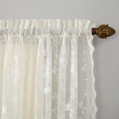 95 X52 Alison Floral Lace Rod Pocket Sheer Curtain Panel Ivory