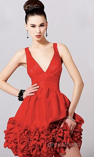 #prom #hair #bun #updo #party #red #dress #short #style