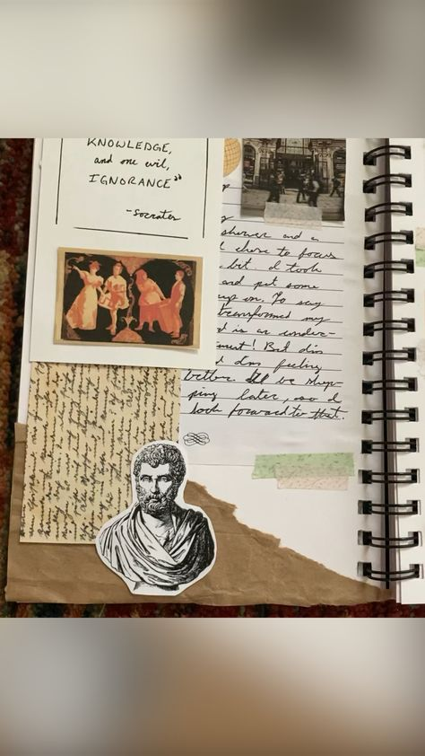 Dark academia art and junk journal spread