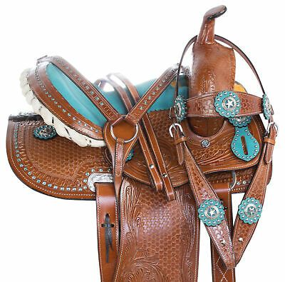 CUTE WESTERN BARREL RACING SADDLE  SHOW TRAIL KIDS HORSE LEATHER TACK 10 12 13