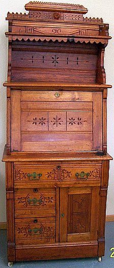 Amazing SPOON CARVED EASTLAKE VICTORIAN DROPFRONT DESK   Home Office For Tiny House