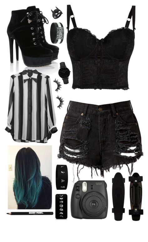 edgy outfits A fashion look from January 2018 by frankie-and-gee featuring Kimberly Ovitz, CLUSE, Manic Panic NYC, Fujifilm and Hot Topic Cute Emo Outfits, Bad Girl Outfits, Teenage Girl Outfits, Teen Fashion Outfits, Teenager Outfits, Edgy Outfits, Swag Outfits, Grunge Outfits, Emo Fashion