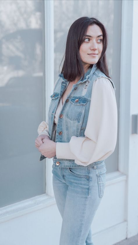 Vintage Spring Everyday Trendy Casual Outfit Idea Features Denim Vest, Blouse, and Jeans