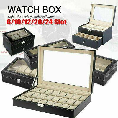 6 10 12 20 24 Slot Watch Box Display Case Organizer Cushion Storage Box Leather In 2020 Jewellery Storage Display Case Glass Storage