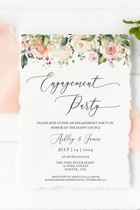Invite your loved ones to your engagement party with this gorgeous floral  boho themed invitation template. Purchase, personalize and print within minutes! Click the link to try out the FREE demo! #engagementparty #engagementinvitation #engagementinvite #bohowedding #floralwedding