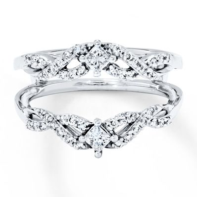 Diamond Enhancer Ring 1 2 Ct Tw Round Princess 14k White Gold Unique Engagement Rings Wedding Rings Solitaire Rose Gold Engagement Ring