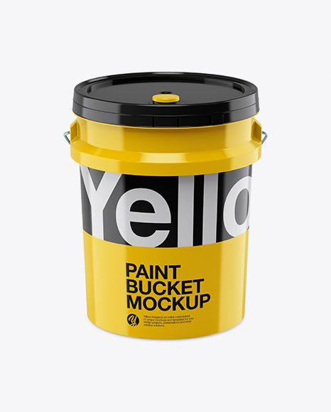 5l Glossy Paint Bucket Mockup Front View High Angle Shot In Bucket Pail Mockups On Yellow Images Object Mockups Mockup Free Psd Glossy Paint Mockup Psd