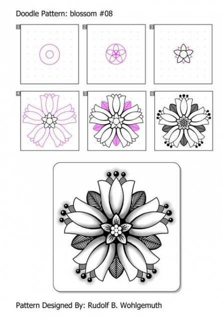 68 Super Ideas Drawing Tutorial Flower Step By Step Tangle