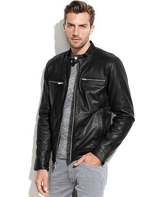 GUESS Leather Moto Jacket - Coats & Jackets - Men - Macy's ...